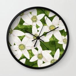 Flower pattern clematis/jasmine Wall Clock