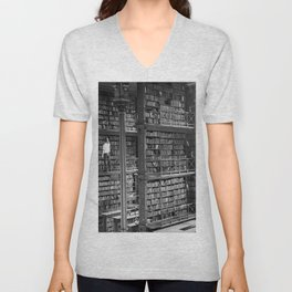 A book lovers dream - Cast-iron Book Alcoves Cincinnati Library black and white photography Unisex V-Neck