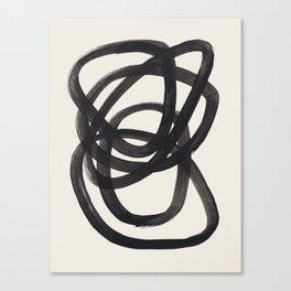 Mid Century Modern Minimalist Abstract Art Brush Strokes Black & White Ink Art Spiral Circles Canvas Print