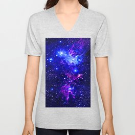 Fox Fur Nebula Galaxy blue purple Unisex V-Neck