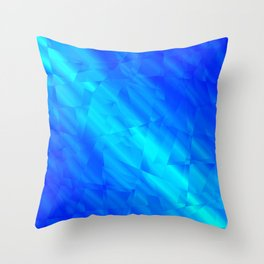 Glowing metallic blue fragments of yellow crystals on irregularly shaped triangles. Throw Pillow