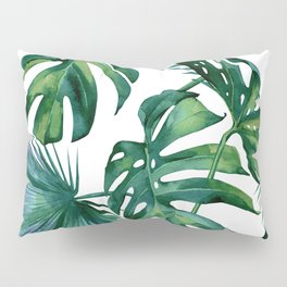 Classic Palm Leaves Tropical Jungle Green Pillow Sham