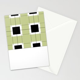 Black Hairline Squares in Light Sand Stationery Cards