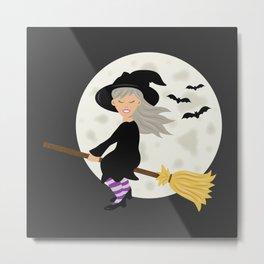 Cute Halloween Witch Girl Flying Cartoon Illustration Metal Print