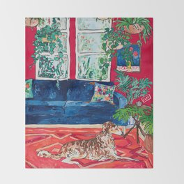 Red Interior with Borzoi Dog and House Plants Painting Throw Blanket