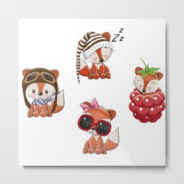 Cute Foxes Metal Print