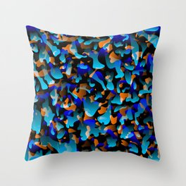 Creative spotted light blue and colored spots and splashes of paint. Throw Pillow