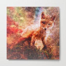 CUTE LITTLE BABY FOX CUB PUP Metal Print