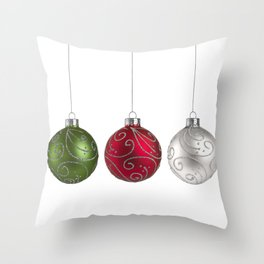 Green, Red, Silver Christmas Ornaments Minimalist Art Throw Pillow