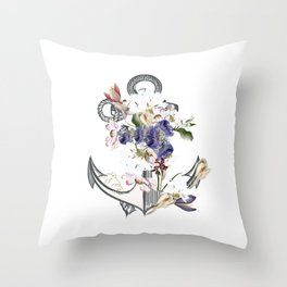 Anchor sea vacation. Floral design Throw Pillow