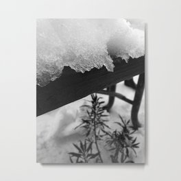Snowy Bench Metal Print