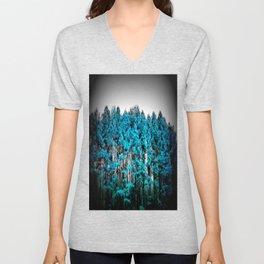 Turquoise Trees Gray Sky Unisex V-Neck