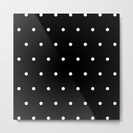 Black Background With White Polka Dots Pattern Metal Print