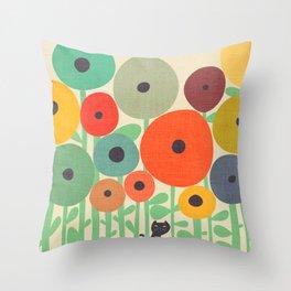 Cat in flower garden Throw Pillow