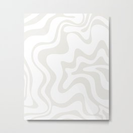Liquid Swirl Abstract Pattern in Nearly White and Pale Stone Metal Print