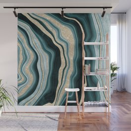Modern agate geode turquoise champagne glitter marble pattern Wall Mural