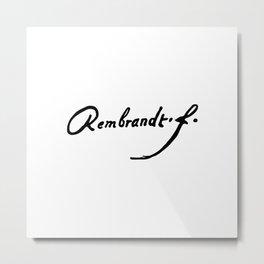 Rembrandt's Signature Metal Print