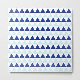 Triangles Pattern in Blue Metal Print