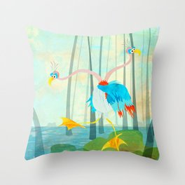 Scatterbrained Two-Headed Mugwump (Bewundering World of Bewilderbeests) Throw Pillow
