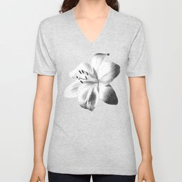 White Lily Black Background Unisex V-Neck