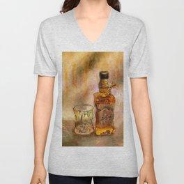 Whiskey Paintings Shots Drinks Bar Art Unisex V-Neck
