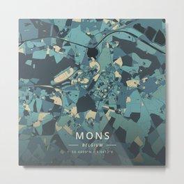 Mons, Belgium - Cream Blue Metal Print