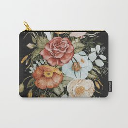 Roses and Poppies Bouquet on Charcoal Black Carry-All Pouch