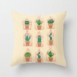 Cactus in birdcage Throw Pillow