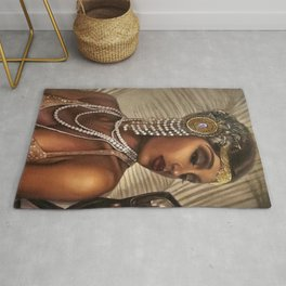 African American Masterpiece 'Cotton Club Flapper Dance Girl' Portrait Painting Rug