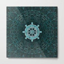 Dharma Wheel - Dharmachakra Silver and turquoise Metal Print