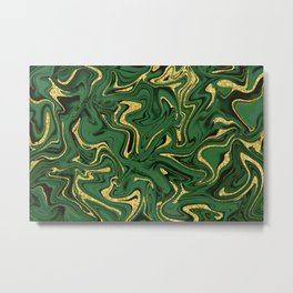Luxury Marble Pattern in Emerald, Gold, Green and Copper Metal Print
