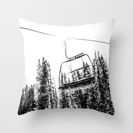 Empty Skilift // Black and White Snowboarding Dreaming of Winter Throw Pillow