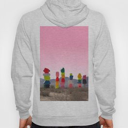 Seven Magic Mountains with Pink Sky - Las Vegas Hoody