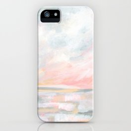 Overwhelm - Pink and Gray Pastel Seascape iPhone Case
