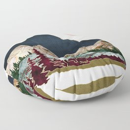 Retro Autumn Vista Floor Pillow