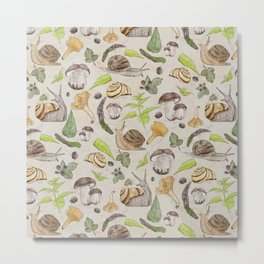 Woodland Snail in Watercolor Fungi Forest, Moss Green and Ochre Earth Animal Pattern Metal Print
