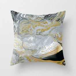 Old Money - Abstract Paintng in Metallic Gold, Silver, and Black Throw Pillow