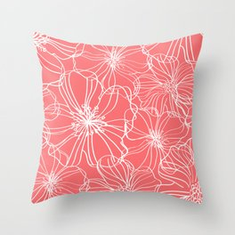 Line Art, Floral Prints, Coral Pink and White, Minimalist Art Throw Pillow