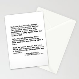 When he kissed this girl - The Great Gatsby - Fitzgerald quote Stationery Cards