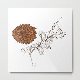 Aries Dahlia - Contemporary Botanical Metal Print