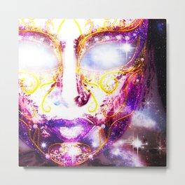 Mysterious Face Mask Metal Print