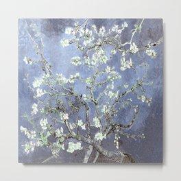 Vincent Van Gogh Almond Blossoms : Steel Blue & Gray Metal Print