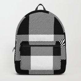 Big Black and White Buffalo Plaid Backpack