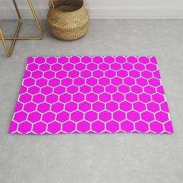 Honeycomb (White & Magenta Pattern) Rug
