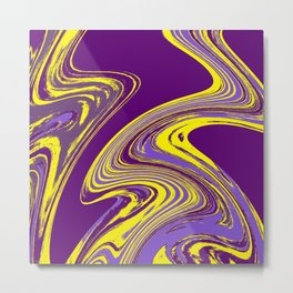 Purple and Yellow Fluid Painting Metal Print