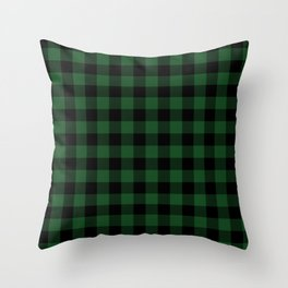 Jumbo Forest Green and Black Rustic Cowboy Cabin Buffalo Check Throw Pillow