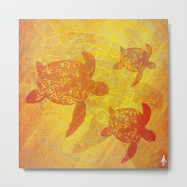 Turtle - Earthy Tones Metal Print