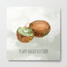 Plant-Based Kitchen Kiwi Metal Print