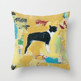 Boston Terrier Painting Art Throw Pillow