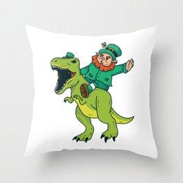 St Patricks Day Leprechaun Trex Dinosaur Kids Boys Throw Pillow